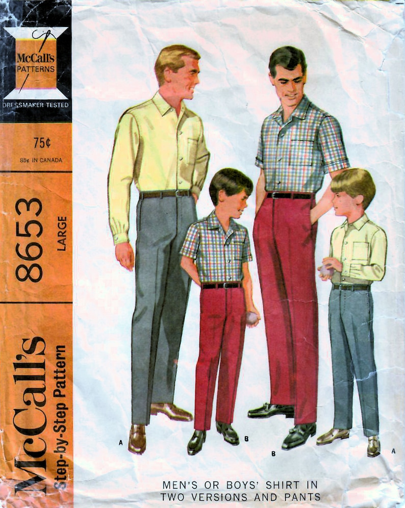 1960s McCall's 8653 Vintage Sewing Pattern Men's image 0