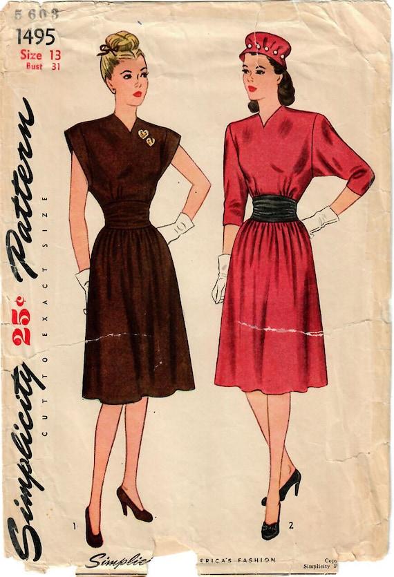 1940er Jahre Einfachheit 1495 FF Vintage Nähen Muster Junior | Etsy