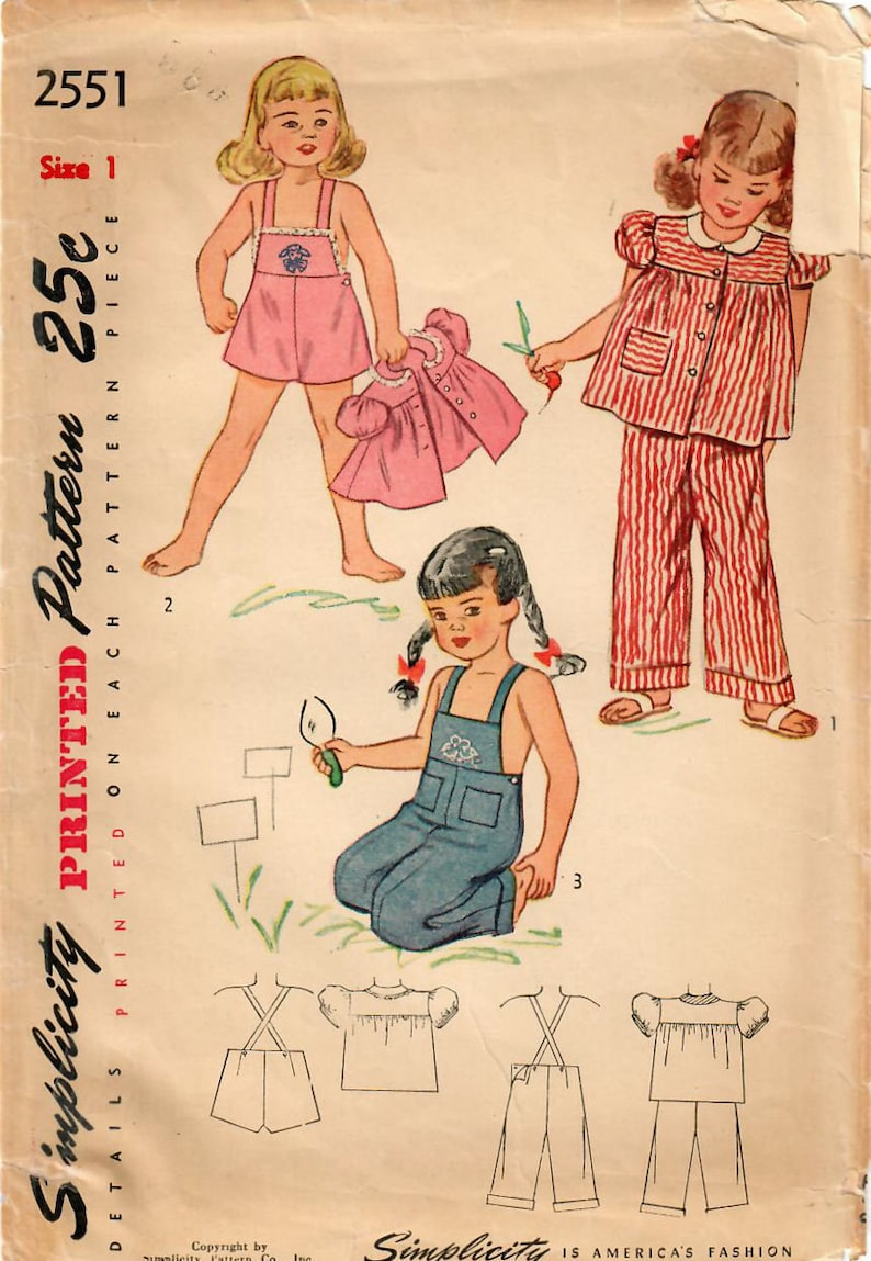 0d6705a43f2 1940s Simplicity 2551 Vintage Sewing Pattern Toddler Sunsuit