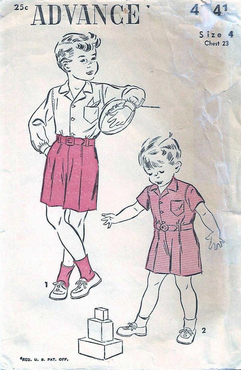 1940s Advance 4441 Vintage Sewing Pattern Boys Shorts Short image 0
