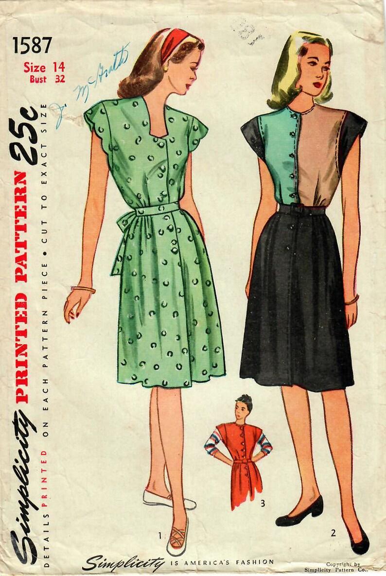 3562cddceaf68 1940s Simplicity 1587 Vintage Sewing Pattern Misses Maternity | Etsy