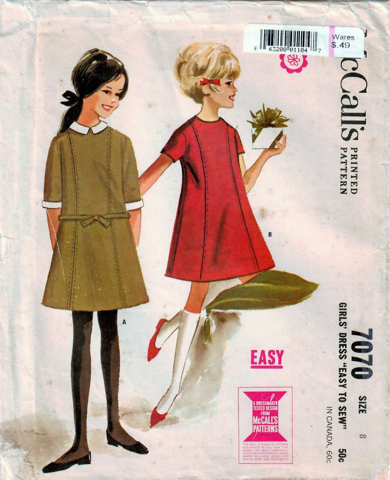 1960s McCall's 7070 Vintage Sewing Pattern Girls Flared image 0