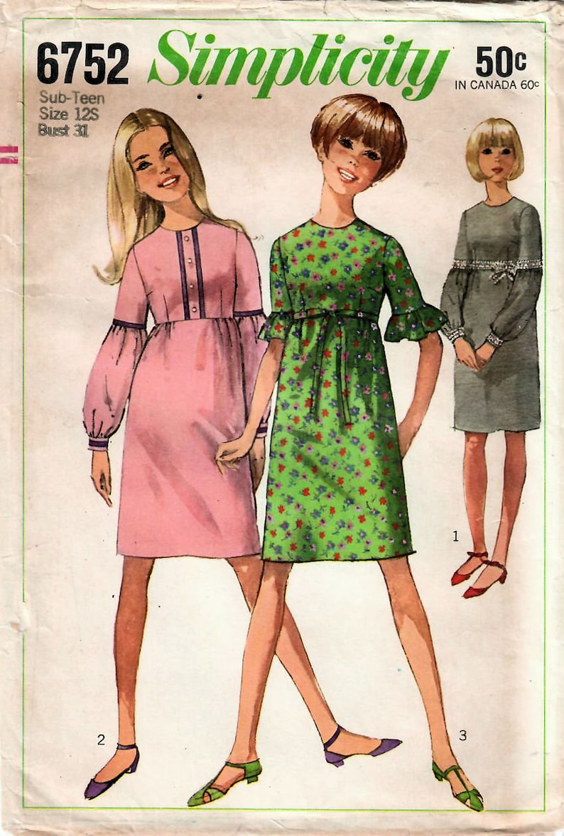 31aa297d67ab8 1960s Simplicity 6752 UNCUT Vintage Sewing Pattern Sub Teen | Etsy