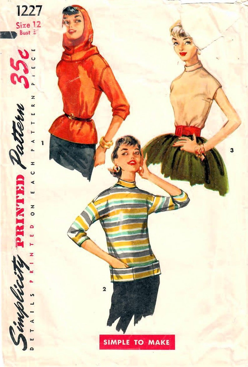 1950s Simplicity 1227 Vintage Sewing Pattern Misses Blouse image 0