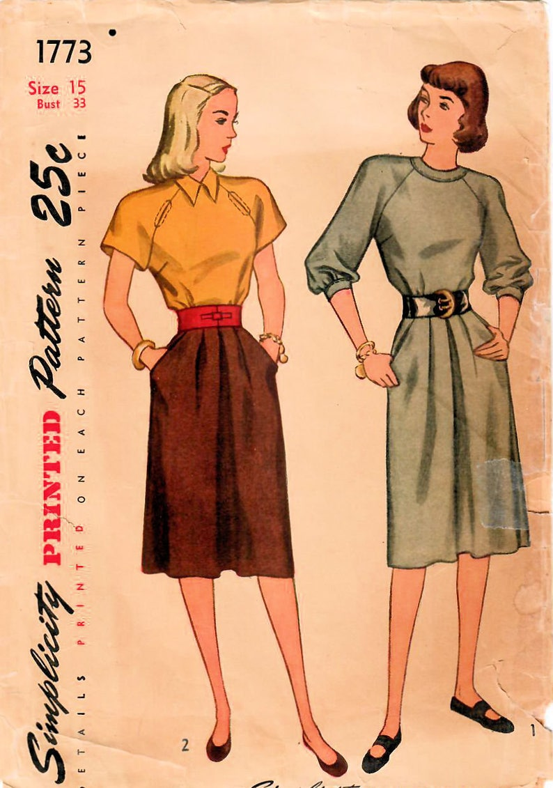 f15be2c07b5 1940s Simplicity 1773 Vintage Sewing Pattern Junior Miss One