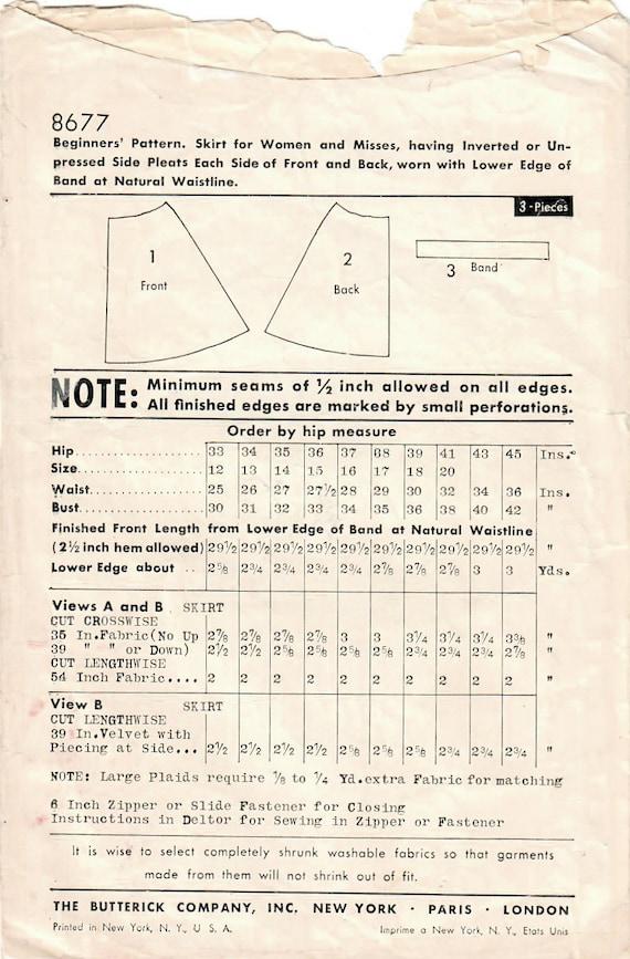1930er Jahre Butt 8677 FF Schnittmuster vermisst Glockenrock | Etsy
