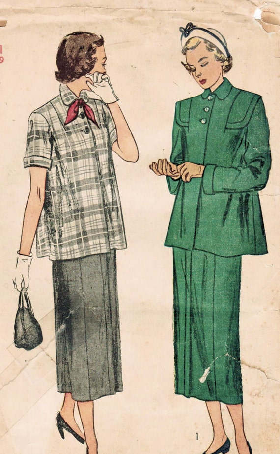 4bcf60cff17 1940s Simplicity 2689 Vintage Sewing Pattern Junior Misses