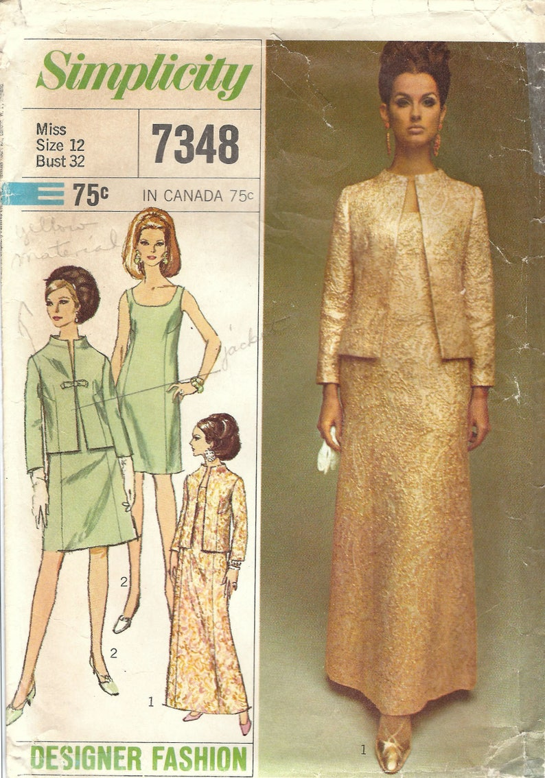 1960s Simplicity 7348 Vintage Sewing Pattern Misses Party image 0