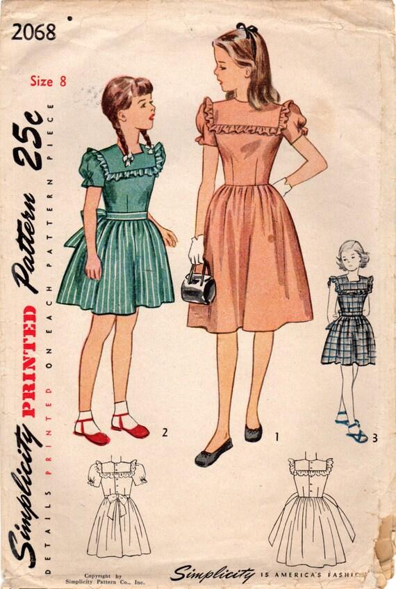 1940er Jahre Einfachheit 2068 Vintage Nähen Muster Mädchen | Etsy