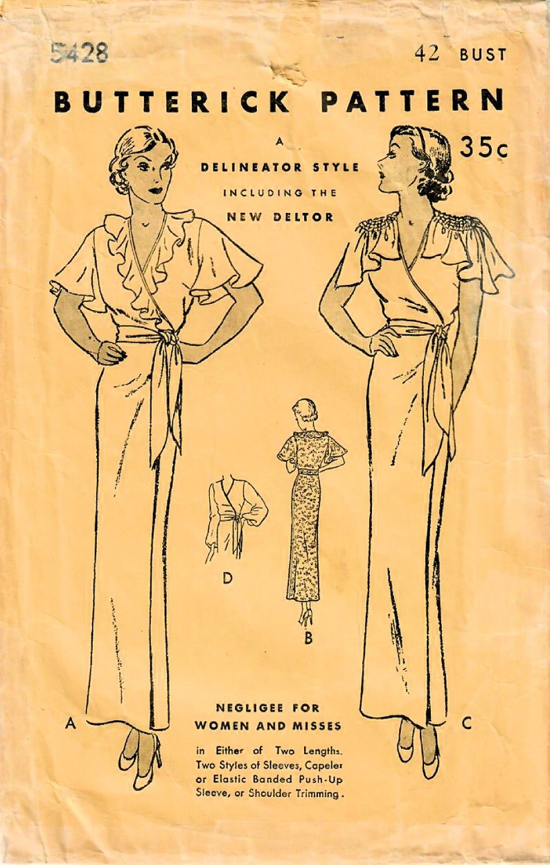 1930s Butterick 5428 Vintage Sewing Pattern Women's image 0
