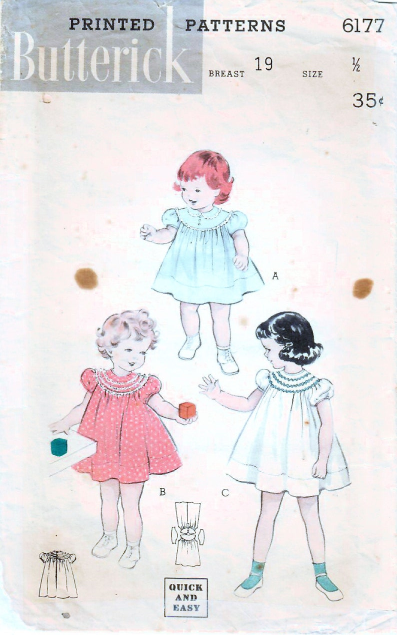 1950s Butterick 6177 Vintage Sewing Pattern Toddler Dress image 0