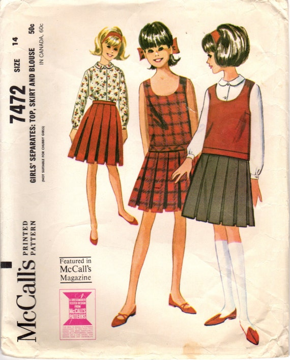 1960s McCall\'s 7472 Vintage Sewing Pattern Girl\'s Top | Etsy