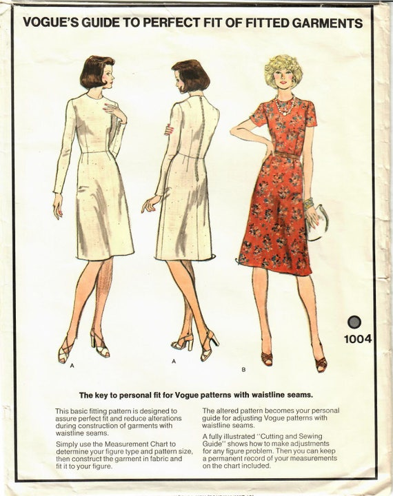 1970s Vogue 1004 Uncut Vintage Sewing Pattern Misses Fitted Etsy