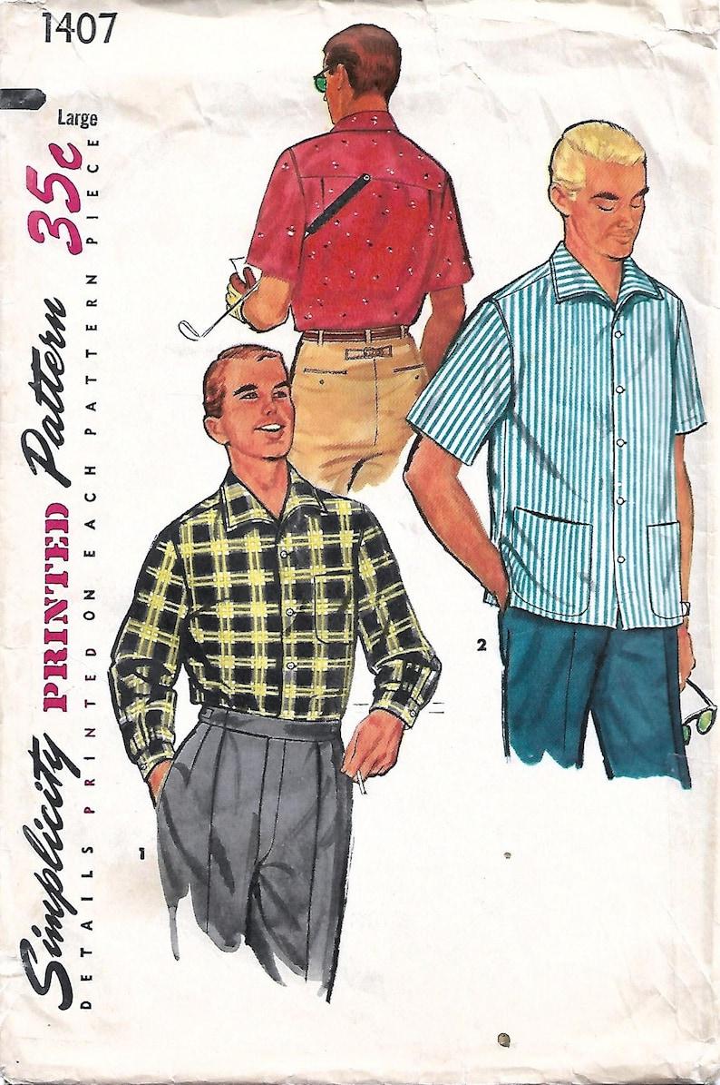 1950s Simplicity 1407 Vintage Sewing Pattern Men's Sport Large (42-44)