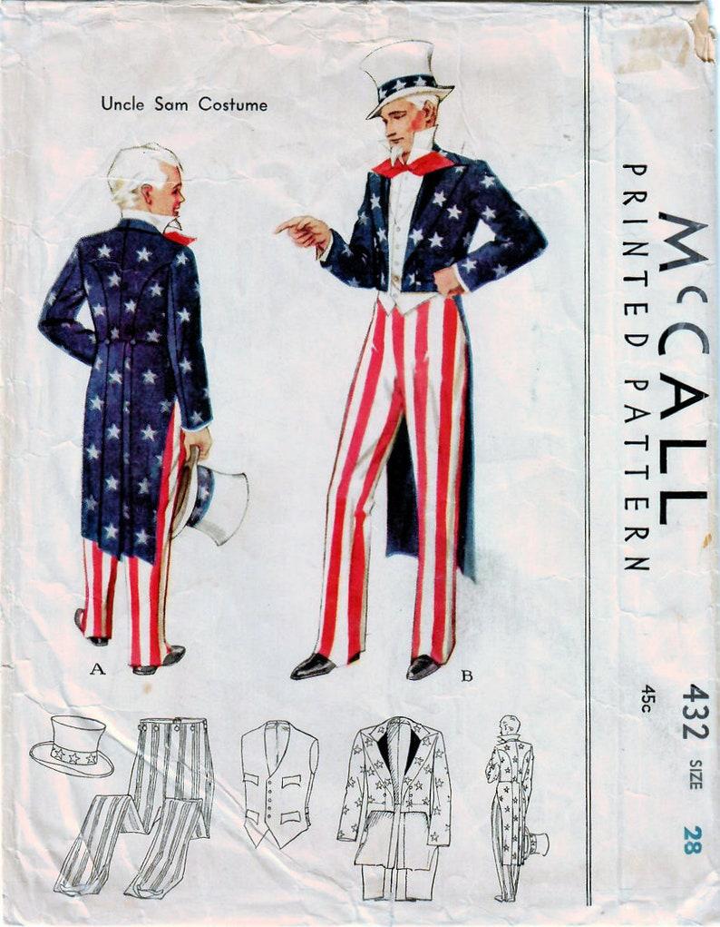 1930 Motif SamXixe Couture Vintage Haut De 432 Mccall GarçonsAdoCostume HommePatriotiqueOncle SièclePantalonHabitChapeau Années 29IEWYeDH