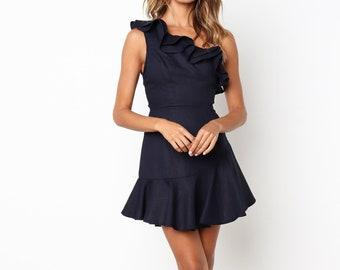 Vintage Navy Linen Mini Dress / One Shoulder Dress