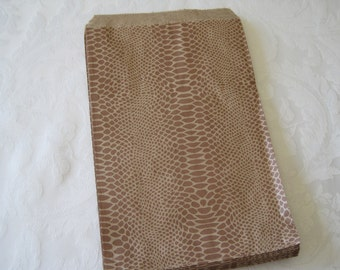 50 Paper Bags, Gift Bags, Kraft Paper Bags, Candy Bags, Brown Paper Bags, Favor Bags, Reptile Party, Snakeskin, Snake, Animal Print 6x9