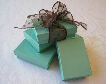 10 Gift Boxes, Jewelry Gift Box, Kraft Boxes, Wedding Favor Boxes, Bridesmaid Gift Box, Teal Blue, Aqua Blue, Small Gift Box 3x2x1
