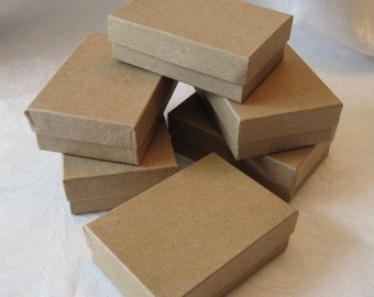 20 Kraft Jewelry Gift Boxes, Cotton Filled 3x2x1
