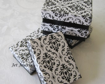 20 Gift Boxes, Jewelry Gift Box, Black Damask, Wedding Favor Boxes, Bridesmaid Gift Box, Damask Print, Cotton Filled 3x2x1