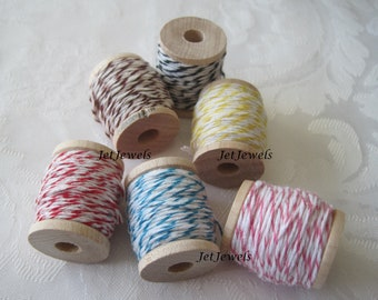 10 Yards Cotton Twine, Baker's Twine, Red String, Colored String, Stocking Stuffer, Gift Wrap, Gift Wrapping, On Wood Spool, Choose Color