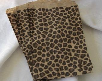 100 Paper Bags, Gift Bags, Animal Print Bags, Cheetah Leopard Print, Party Favor Bags, Brown Paper Bags, Retail Bags, Merchandise Bags 6x9