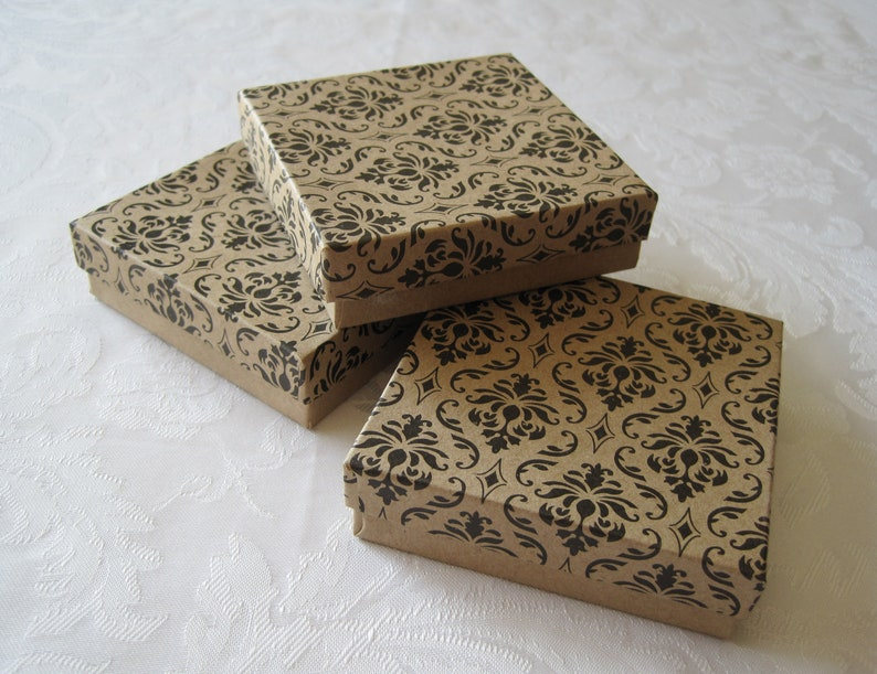 10 Jewelry Gift Boxes Kraft Boxes Black Damask Gift Boxes Etsy
