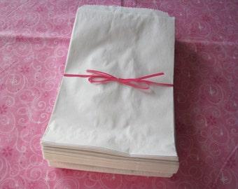 100 WHITE Kraft Paper Bags 5x7 White Gift Bags, Retail Merchandise Bag