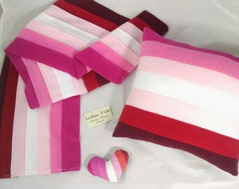 Lesbian Pride Scarves, Pillows, and Mini Hearts