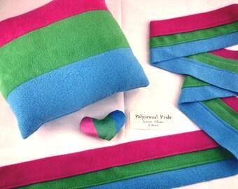 Polysexual/Polyromantic Pride Scarves, Pillows, and Mini Hearts