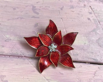 72e635b41 Authentic 1950's Eisenberg ICE Swarovski Crystal and Enamel Red Poinsettia  Gold Tone Brooch