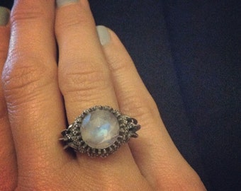 Moonstone Sterling Silver Statement Ring Size 5