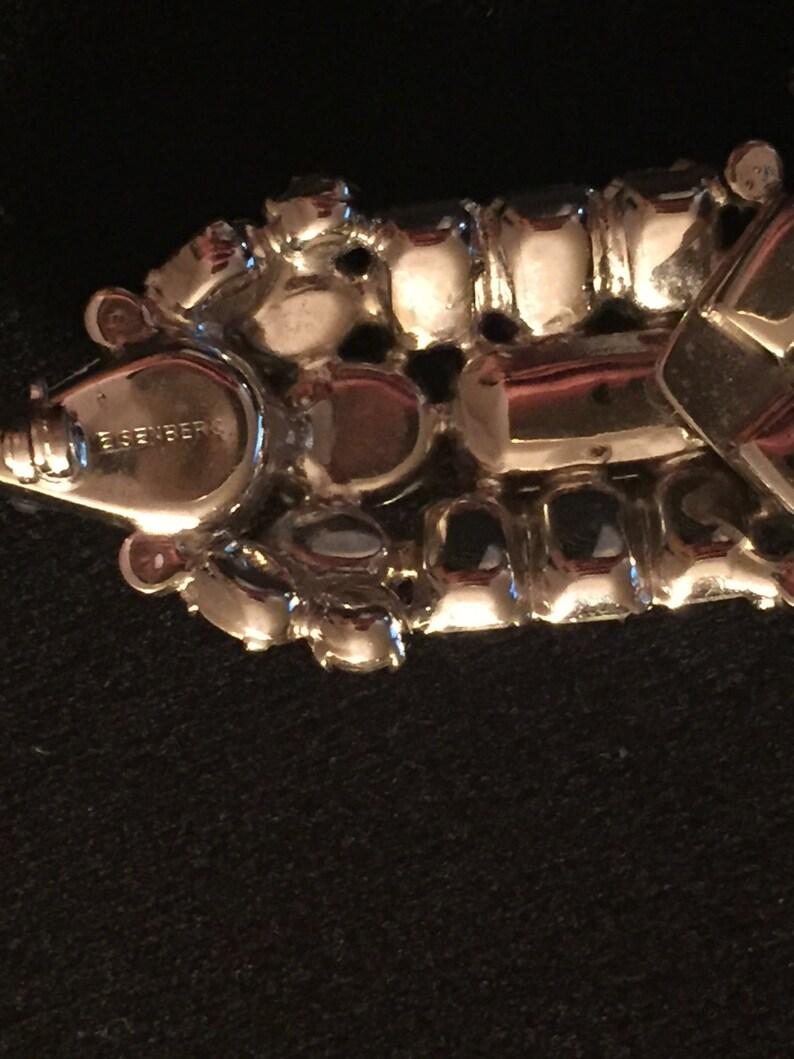 Vintage Signed EISENBERG ORIGINAL Ornate Crystal Interchangeable Choker Necklace and Brooch C.1940