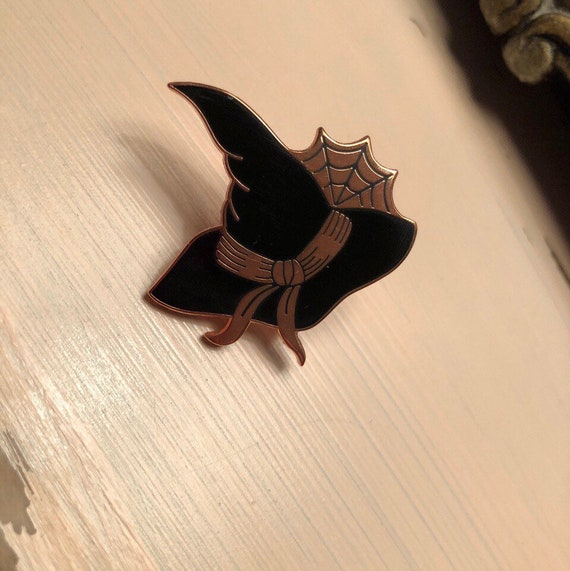 Black and Copper Witch Hat Enamel Pin~ Dana Glover