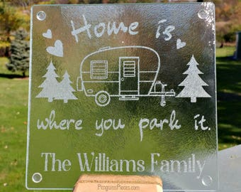 Personalized Etched Glass Cutting Board - 7.75x7.75 - Sandblasted Trivet - RV Camping Travel Trailer - Wedding or Bridal Shower Gift