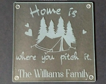 Tent Camping Travel Personalized Etched Glass Cutting Board - 7.75x7.75 - Sandblasted Trivet - Adventure Wedding or Bridal Shower Gift