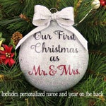 Personalized Our First Christmas Married Glitter Ornament - Glass - 2 Sided - 1st Mr. & Mrs. Wedding Newlywed Couple's Husband and Wife