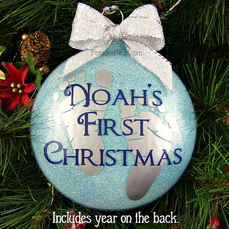 Baby Boy First Christmas Ornament  Glass  Personalized image 0