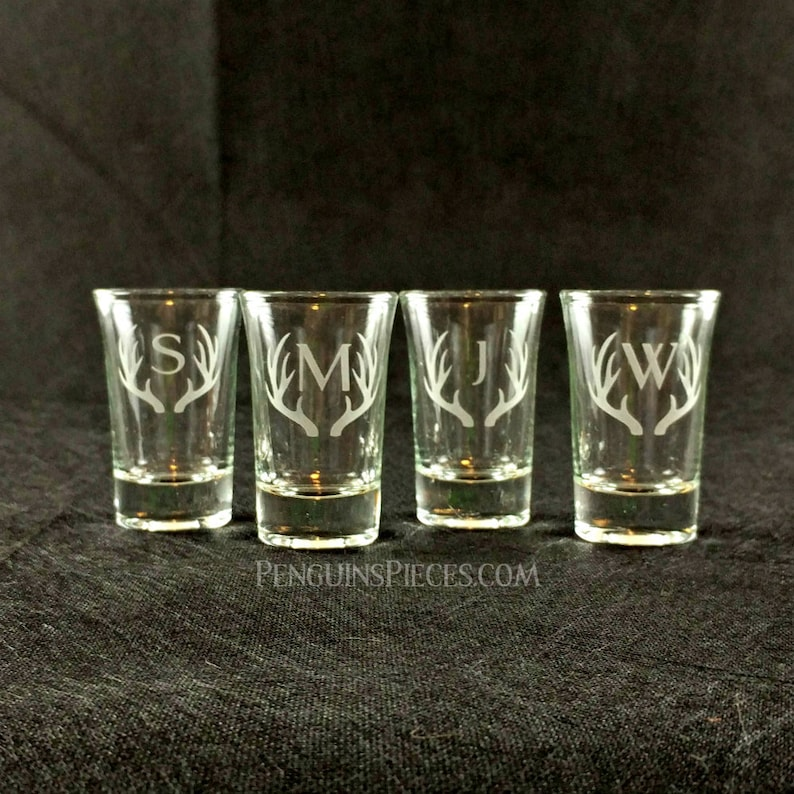 Personalized Etched Antler Frame Monogram Initial Shot Glass  image 0
