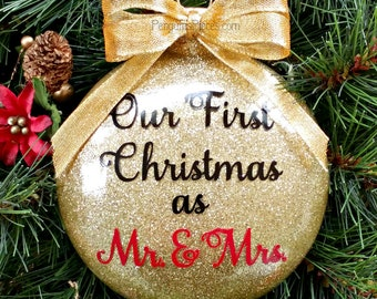 Personalized Our First Christmas Married Gold Glitter Ornament - Glass - 2 Sided - 1st Mr. & Mrs. Wedding Newlywed Couple's Husband and Wife