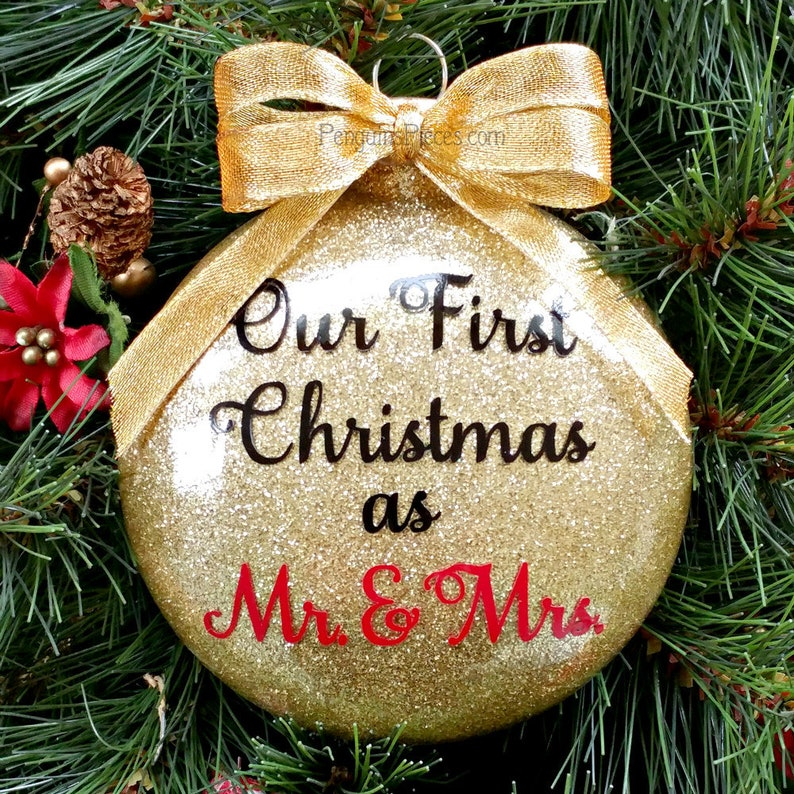 Personalized Our First Christmas Married Gold Glitter Ornament image 0