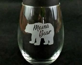 Etched Mama Bear Stemless Wine Glass - Personalized New Mom Gift - Custom Sandblasted Wine Glasses - Engraved Mama Bear Wineglass