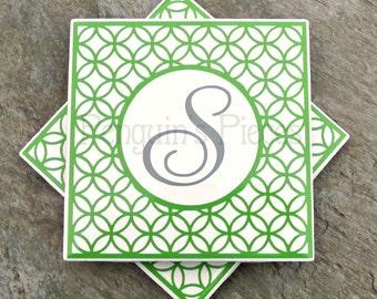 Personalized Ceramic Tile Coasters - Modern Geometric Round Frame Monogram - Housewarming Wedding Party Favors - Cork Back