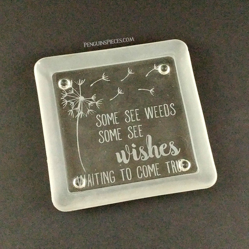Dandelion Etched Glass Jewelry Ring Dish  Sandblasted Square image 0