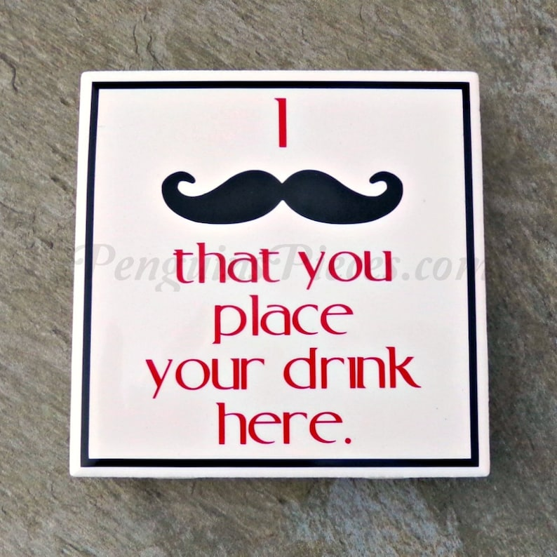 Mustache Ceramic Tile Coaster  House Warming Party Favors  image 0
