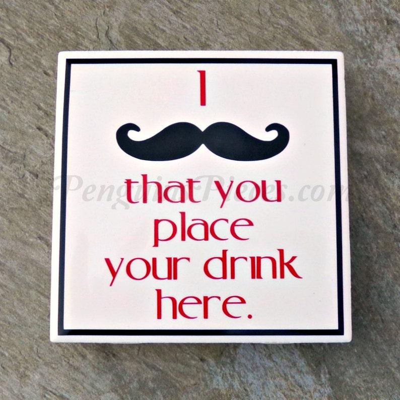 Mustache Ceramic Tile Coaster  House Warming Party Favors  image 0