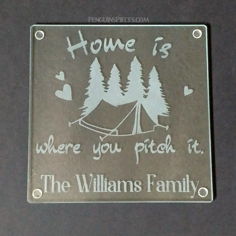 Tent Camping Travel Personalized Etched Glass Cutting Board  image 0
