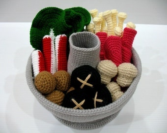 Crochet Pattern-STEAMBOAT / HOTPOT- playfood / toys-PDF  (00358)