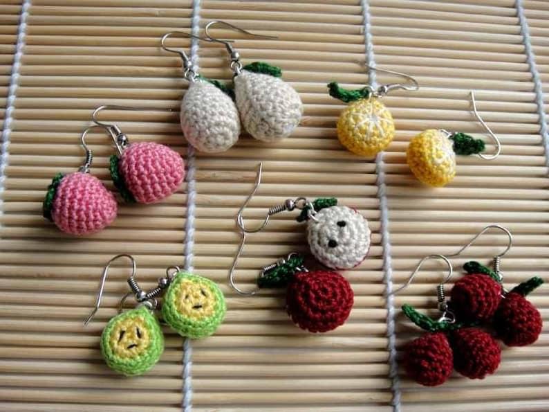 Crochet Pattern  FRUITY EARRING  Jewelry / Accessories image 0