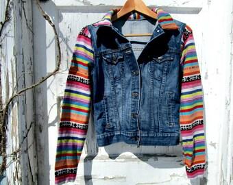 467e492d911 Upcycled Boho Tribal Multi Striped Denim Blue Jean Jacket Medium Altered  Clothing emmevielle